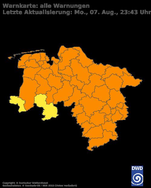Aktuelle Wetterwarnungen für Osnabrück